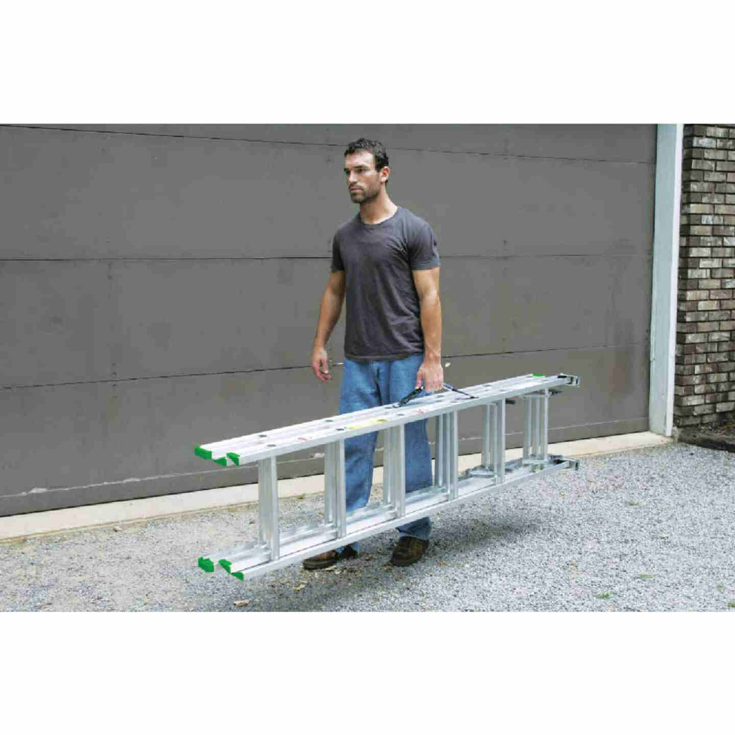 Werner 16 Ft. Compact Aluminum Extension Ladder with 225 Lb. Load Capacity Type II Duty Rating Image 4