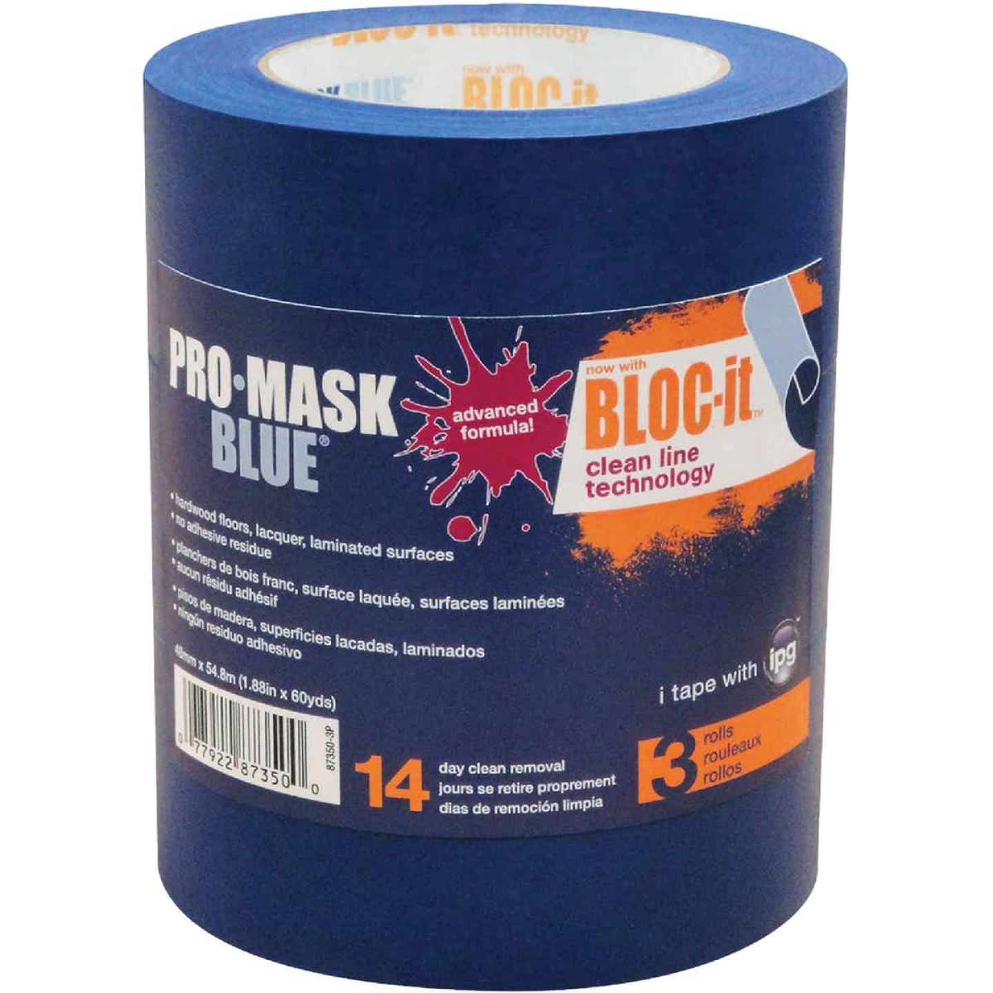 IPG ProMask Blue 1.88 In. x 60 Yd. Bloc-It Masking Tape (3-Pack) Image 1