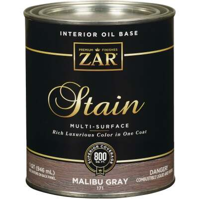 ZAR Oil-Based Wood Stain, Malibu Gray, 1 Qt.