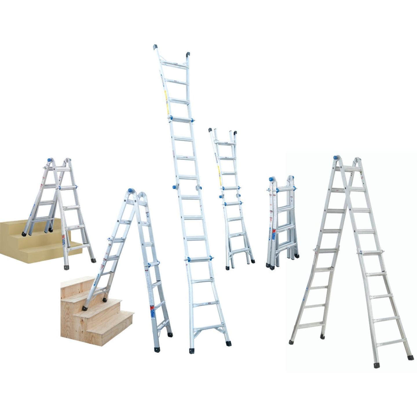 Werner 17 Ft. Aluminum Multi-Position Telescoping Ladder with 300 Lb. Load Capacity Type IA Ladder Rating Image 1