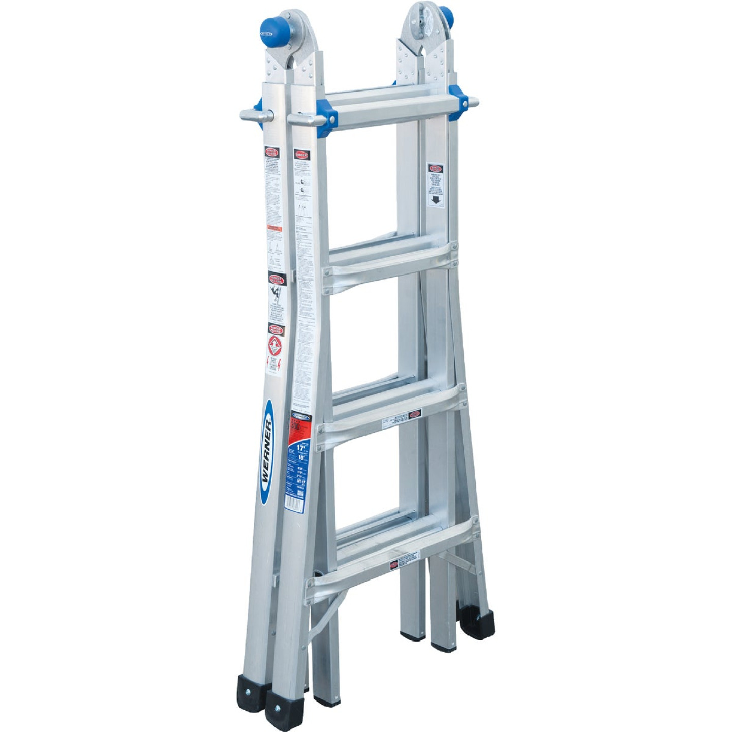 Werner 17 Ft. Aluminum Multi-Position Telescoping Ladder with 300 Lb. Load Capacity Type IA Ladder Rating Image 7