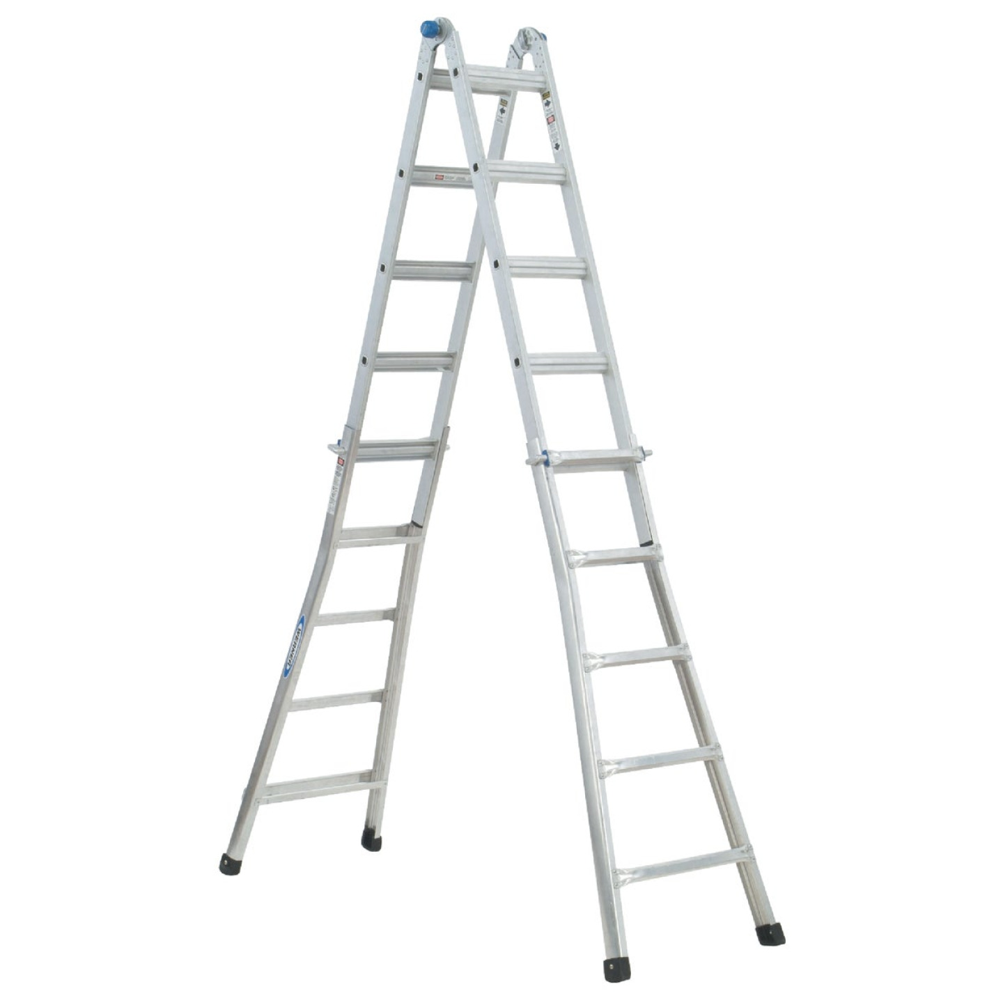 Werner 17 Ft. Aluminum Multi-Position Telescoping Ladder with 300 Lb. Load Capacity Type IA Ladder Rating Image 12