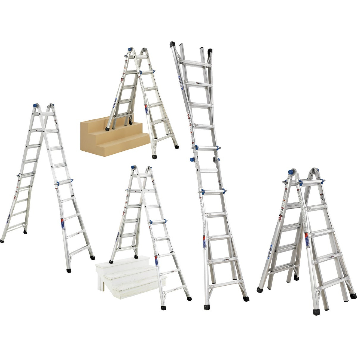 Werner 22 Ft. Aluminum Multi-Position Telescoping Ladder with 300 Lb. Load Capacity Type IA Ladder Rating Image 1