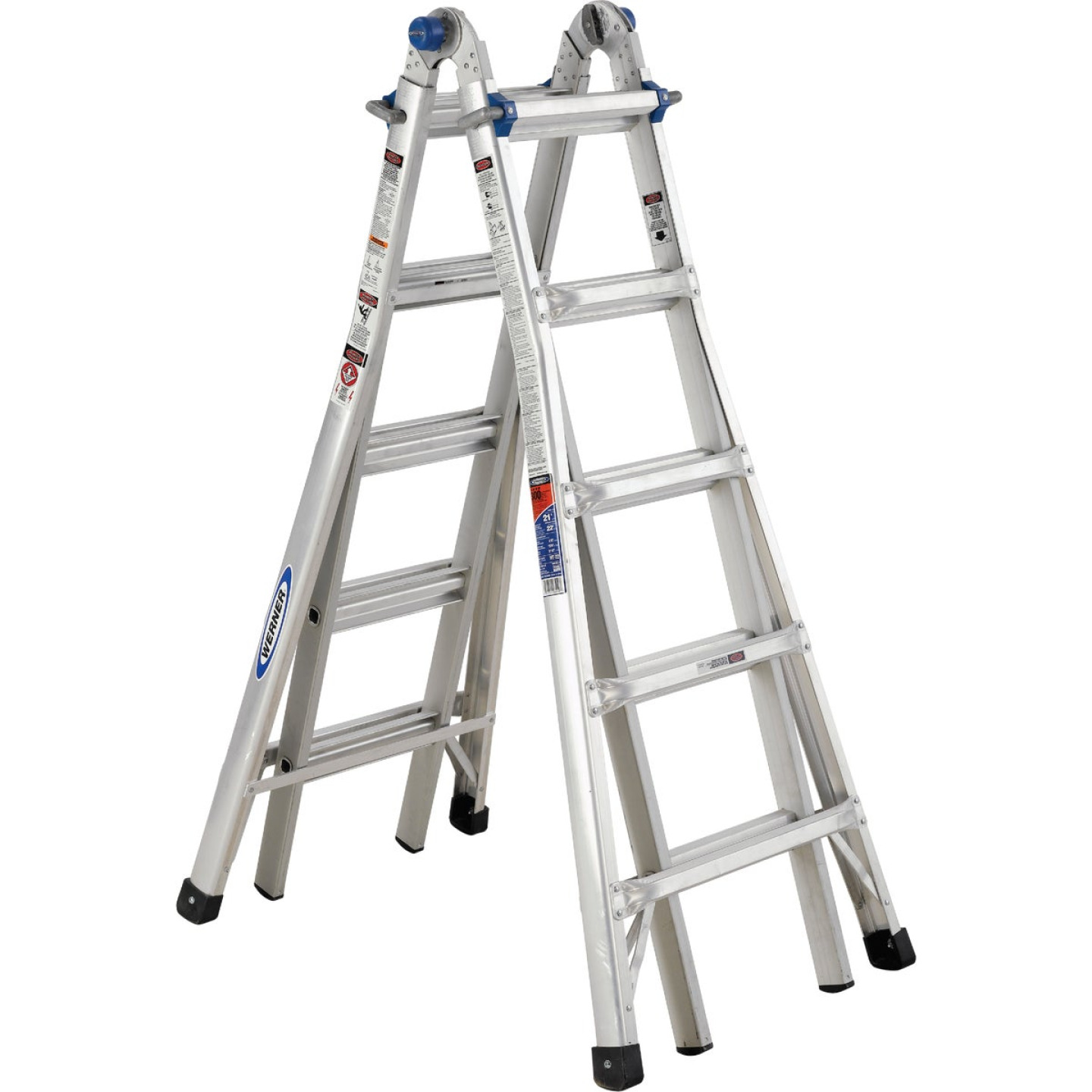 Werner 22 Ft. Aluminum Multi-Position Telescoping Ladder with 300 Lb. Load Capacity Type IA Ladder Rating Image 5