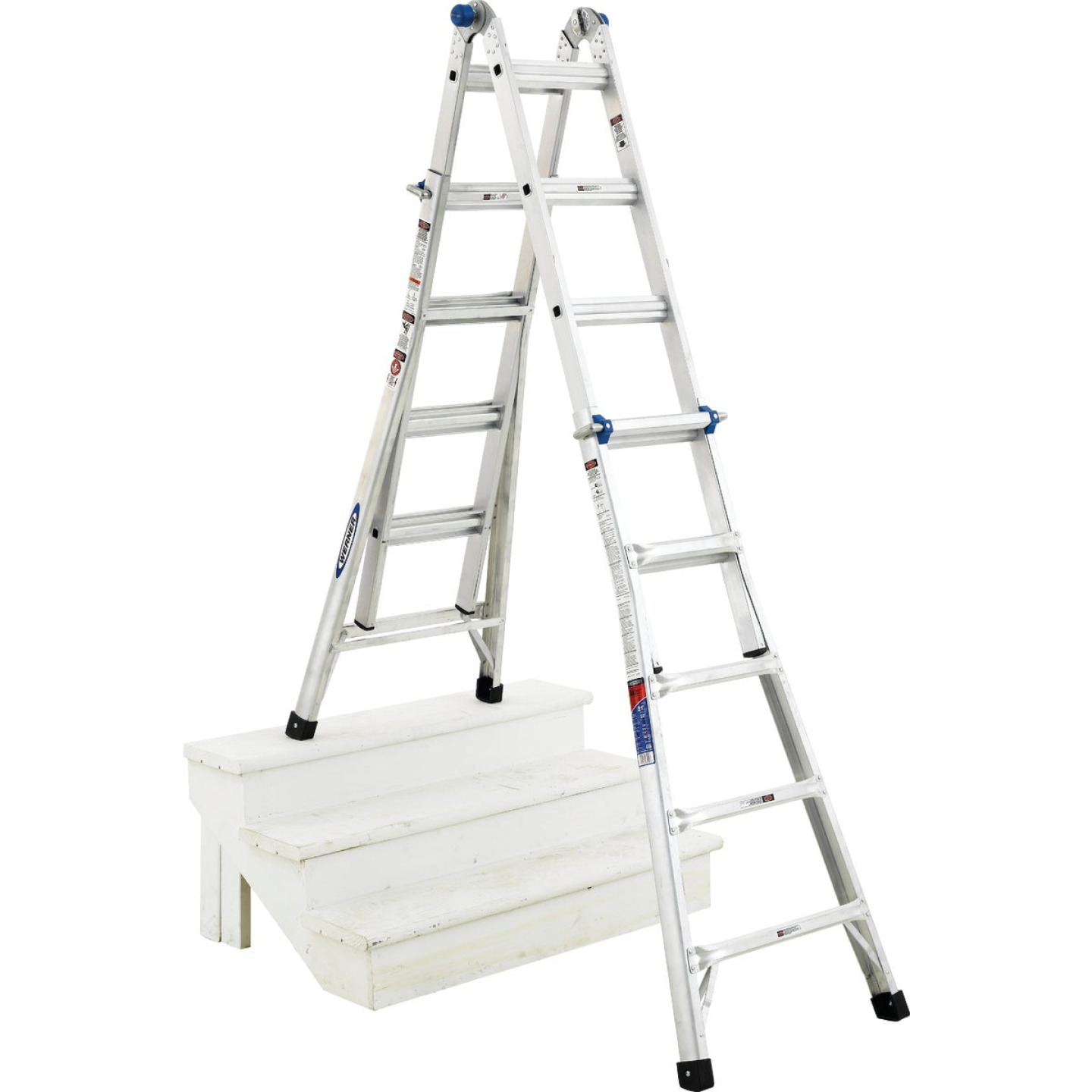 Werner 22 Ft. Aluminum Multi-Position Telescoping Ladder with 300 Lb. Load Capacity Type IA Ladder Rating Image 7