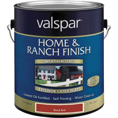 Valspar Exterior Latex Self Priming Flat Home And Ranch Finish, Ranch Red, 1 Gal.