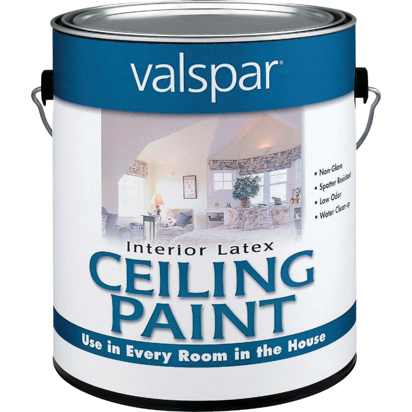 Valspar Latex Flat Ceiling Paint, White, 1 Gal. Image 1