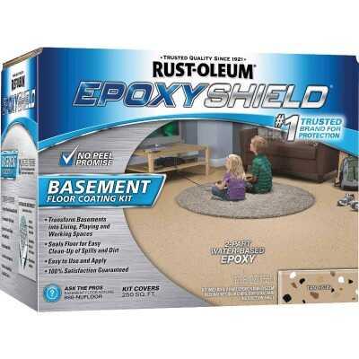 Rust-Oleum EpoxyShield Satin Basement Floor Coating Kit, Tan, 120 Oz.