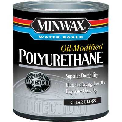 Minwax Gloss Water Based Oil-Modified Interior Polyurethane, 1 Qt.