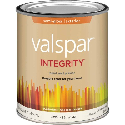 Valspar Integrity Latex Paint And Primer Semi-Gloss Exterior House Paint, White, 1 Qt.