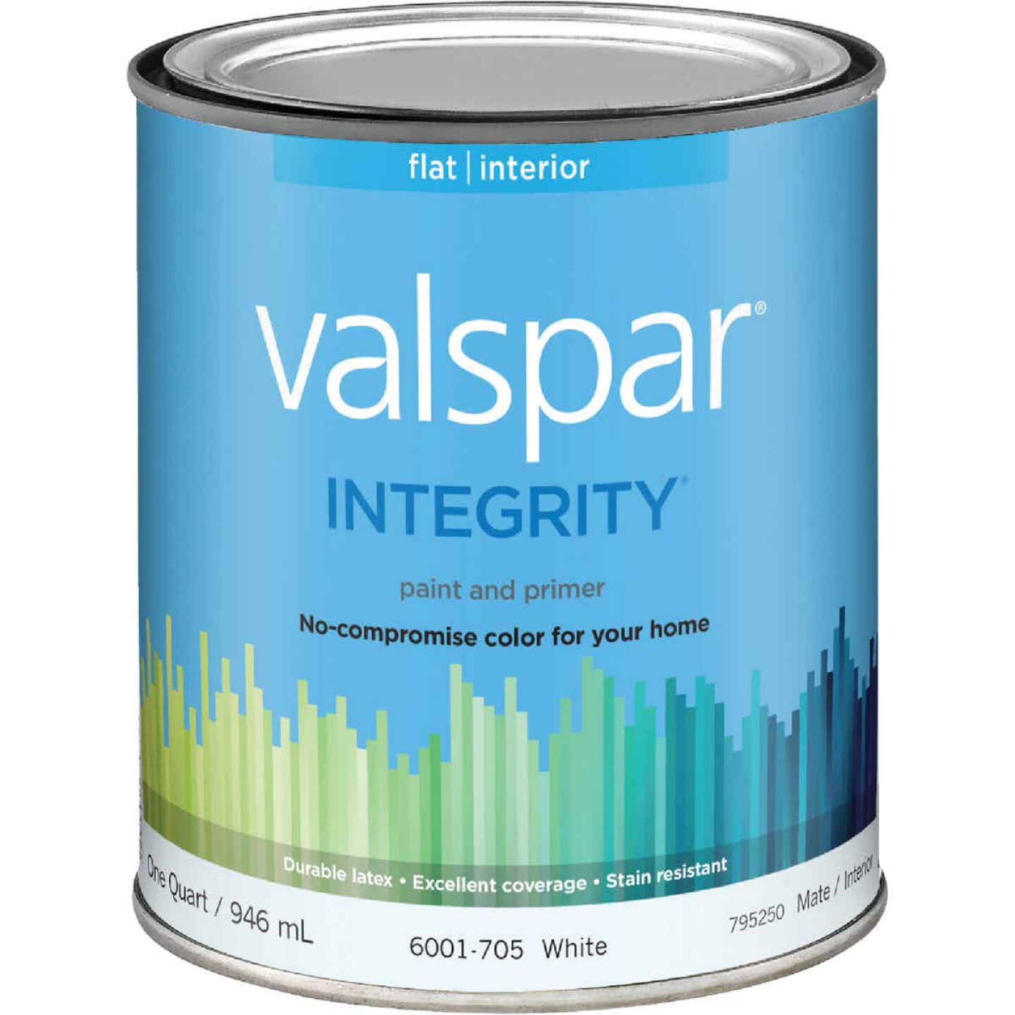 Valspar Integrity Latex Paint And Primer Flat Interior Wall Paint, White, 1 Qt. Image 1