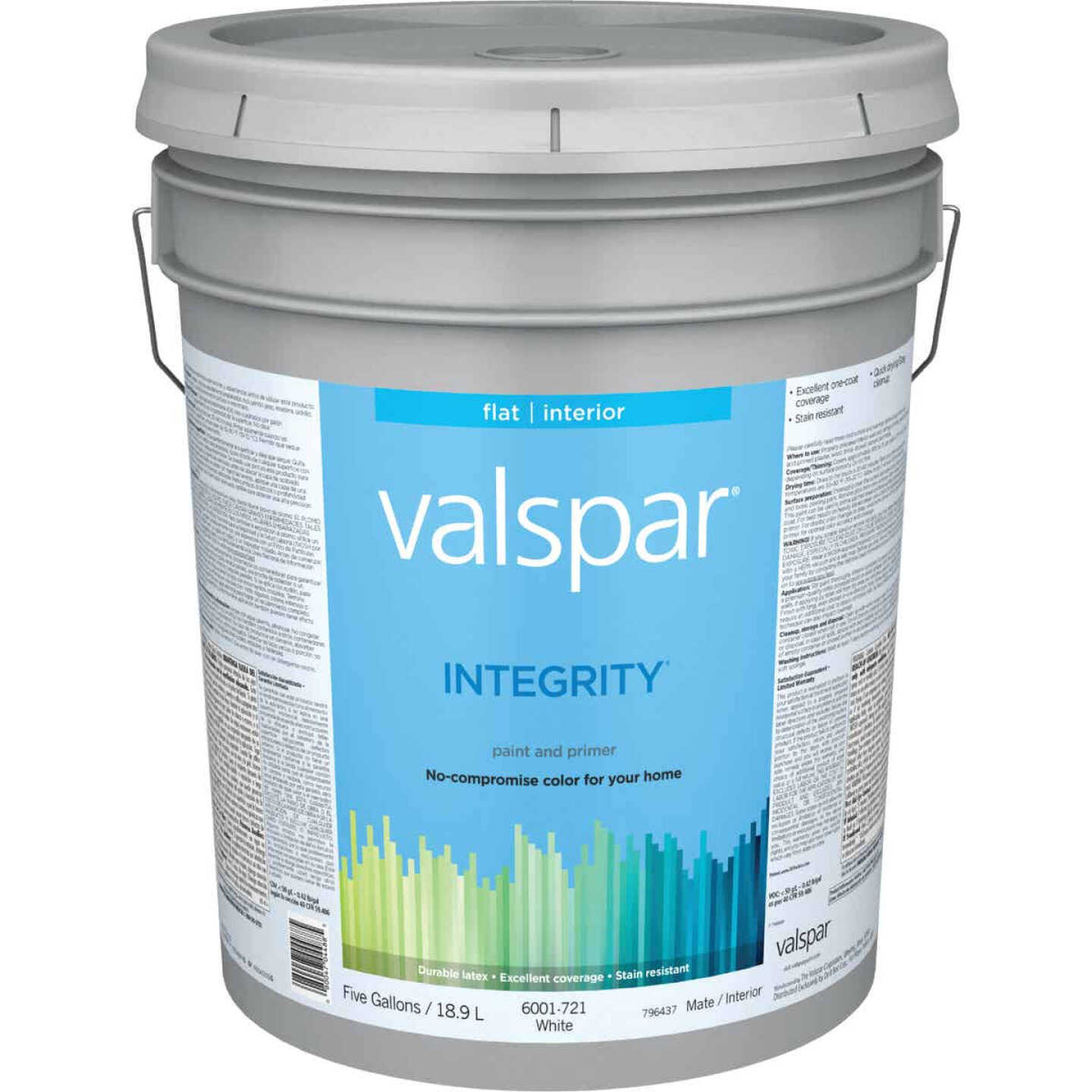 Valspar Integrity Latex Paint And Primer Flat Interior Wall Paint, White, 5 Gal. Image 1