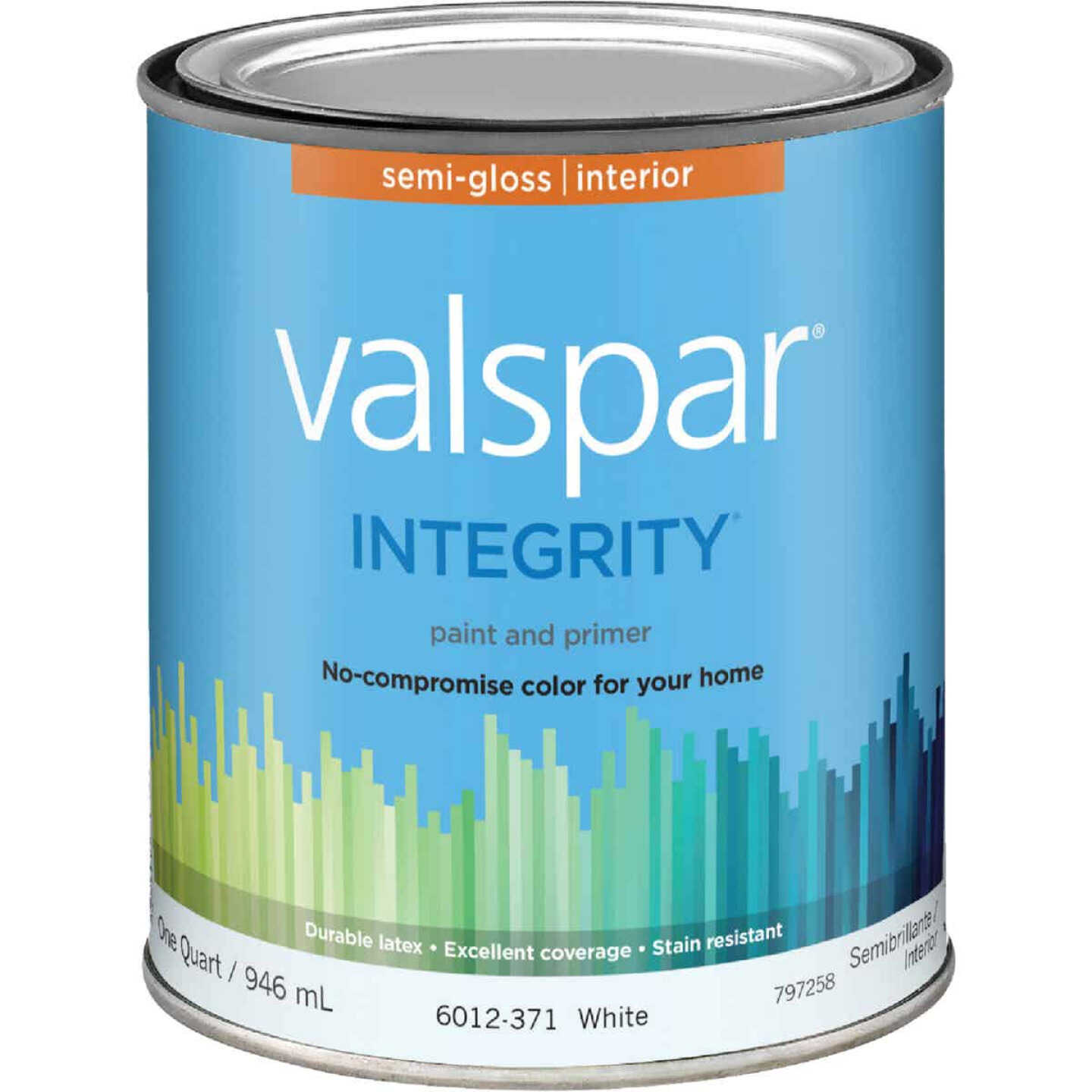 Valspar Integrity Latex Paint And Primer Semi-Gloss Interior Wall Paint, White, 1 Qt. Image 1