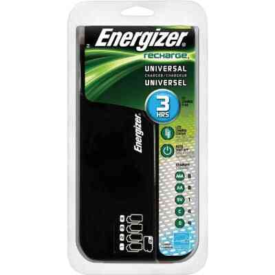 Energizer (2 or 4) AA, (2 or 4) AAA, (2 or 4) C, (2 or 4) D, (1 or 2) 9V NiMH Recharge Universal Battery Power Station
