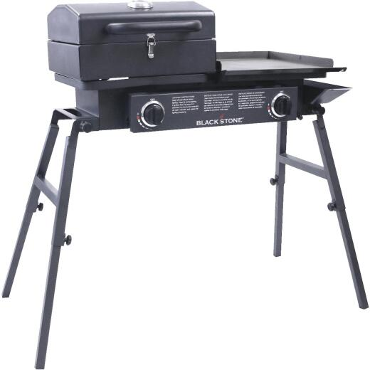 Blackstone Tailgater 2-Burner Black 37,000-BTU LP Gas Griddle with Grill Box