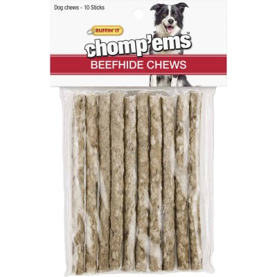 Westminster Pet Ruffin' it Chomp'ems Beefhide Stick, (10-Pack)