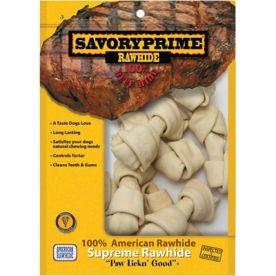 Savory Prime Knotted 4 In. to 5 In. Rawhide Bone (10-Pack)