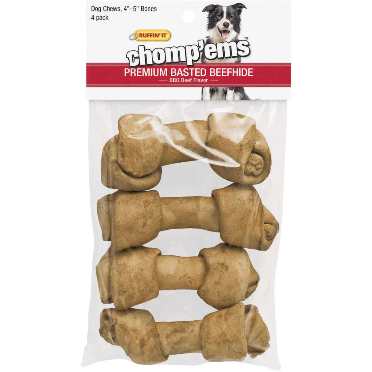 Westminster Pet Ruffin' it Chomp'ems Knotted 4 In. to 5 In. Beef Rawhide Bone (4-Pack) Image 1