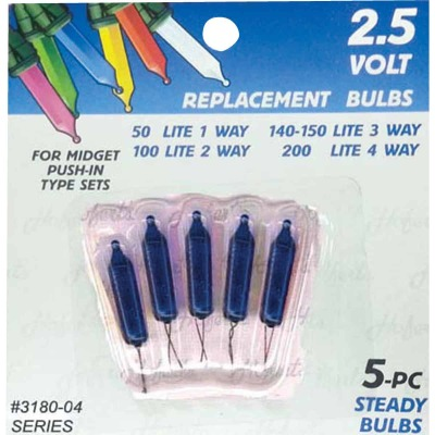 J Hofert Mini Blue 2.5V Replacement Light Bulb (5-Pack)